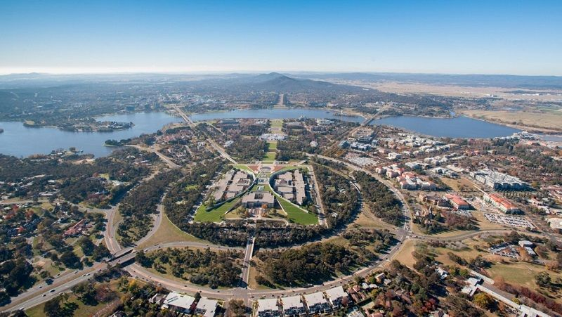 Ariel view of Canberra