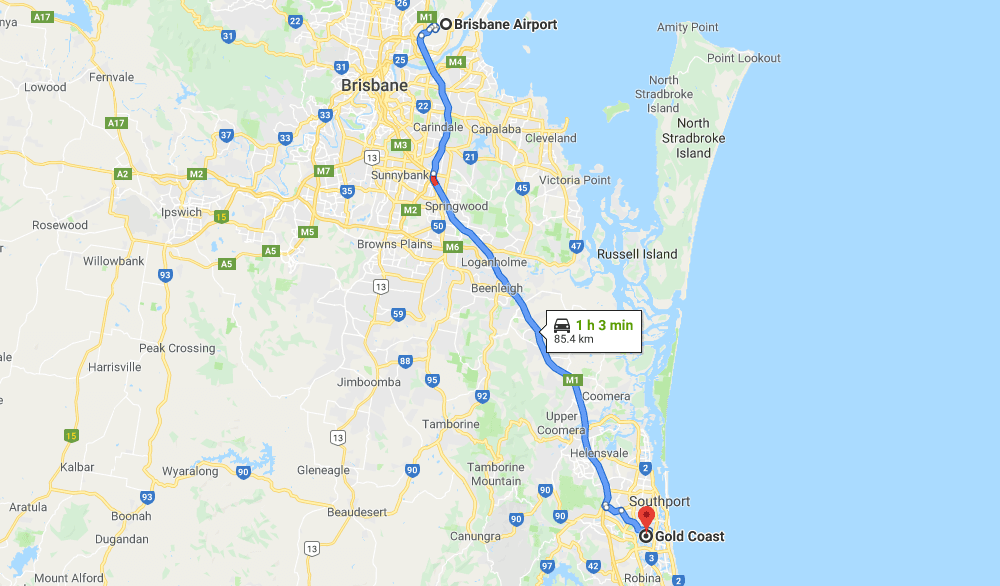 Map from Brisbane Airport to The GOld Coast - Australia