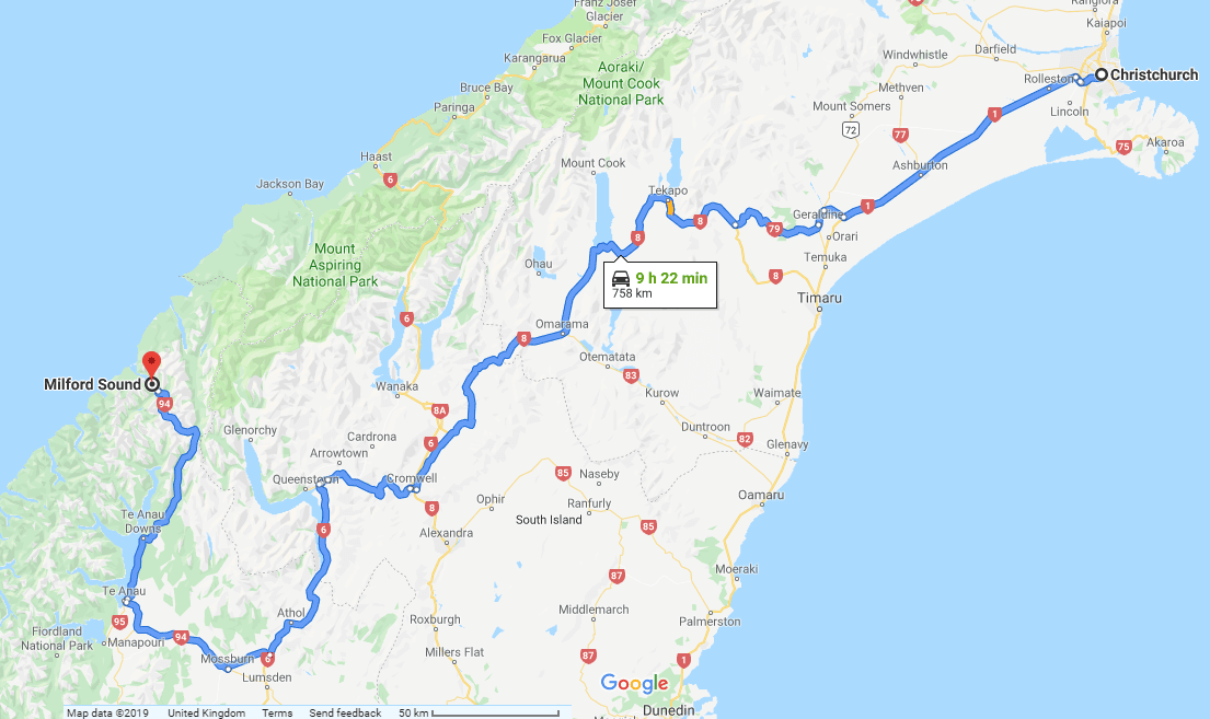 Directions from Christchurch to Milford Sound - New Zealand