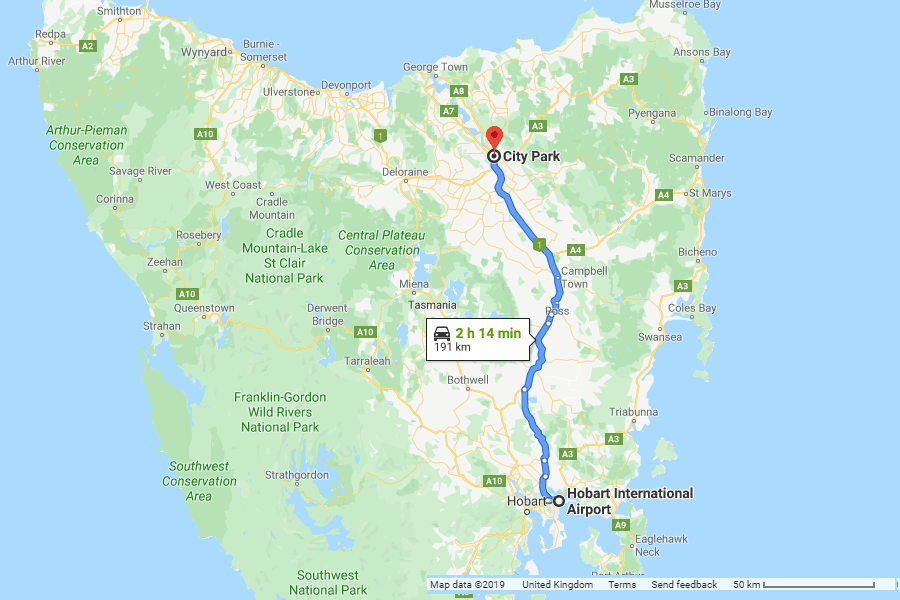 Directions from Hobart Airport Car Park to the Launceston Festivale - Tasmania