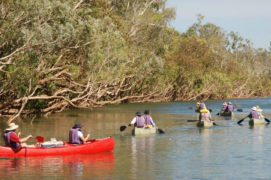 People in canoes on The Katherine River