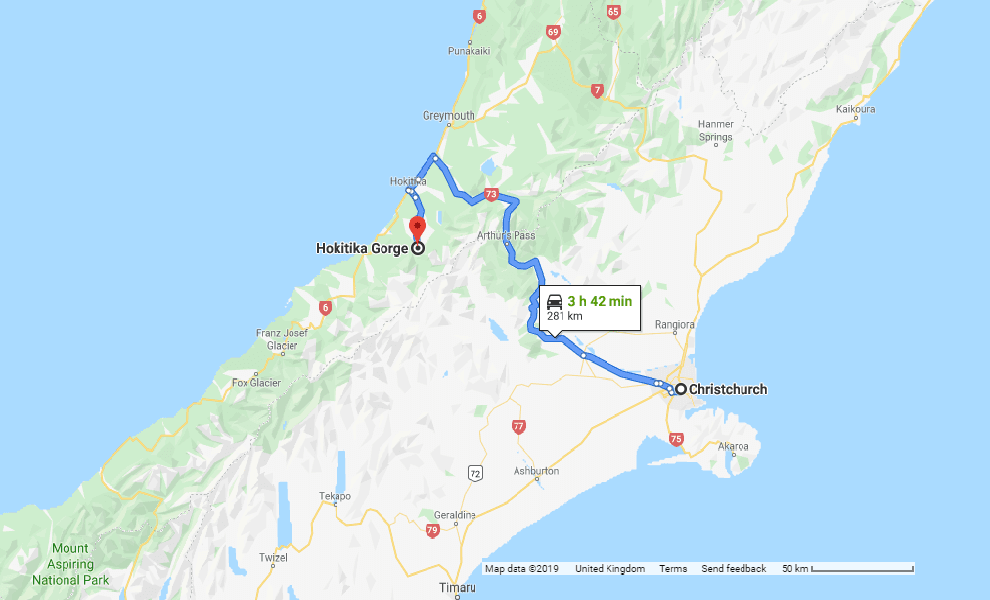 Directions from Christchurch to Hokitika Gorge - New Zealand