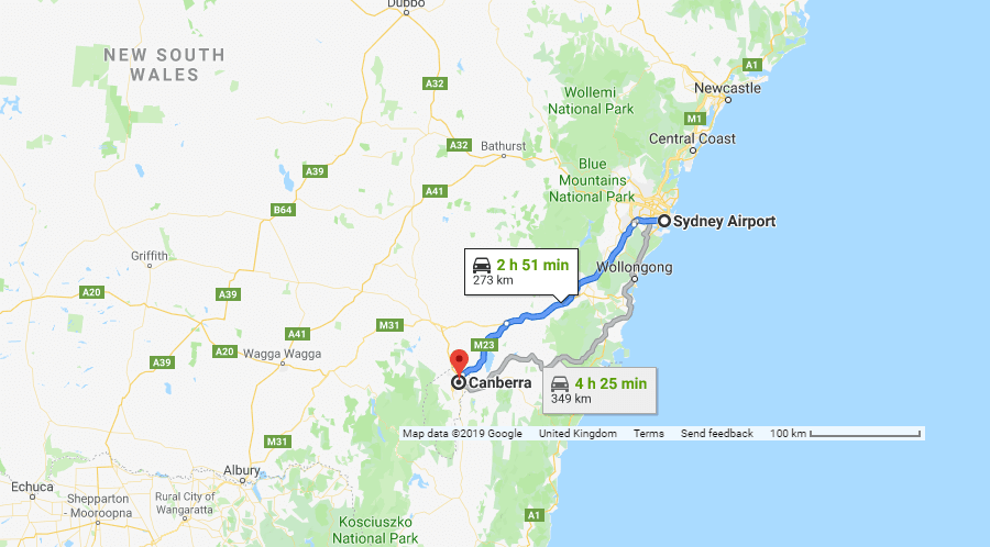 Directions from Sydney Airport to Canberra