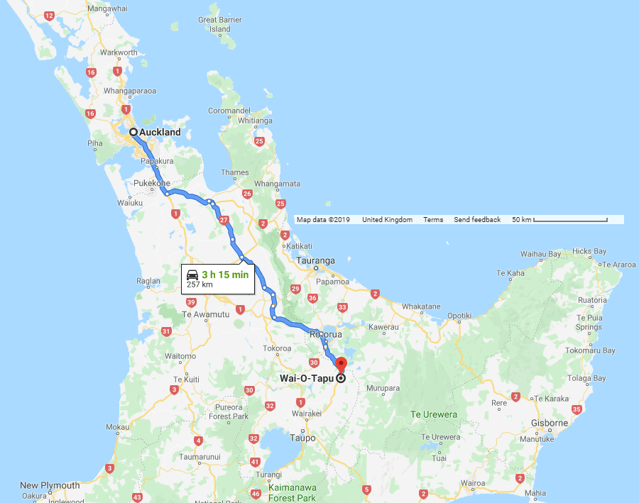 Directions from Auckland to Wai-O-Tapu - New Zealand
