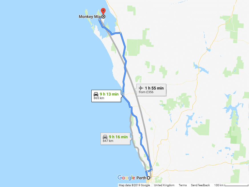 Map from Perth to Monkey Mia - Western Australia