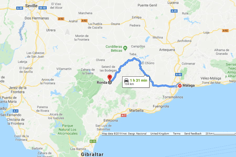 Directions from Malaga to Ronda