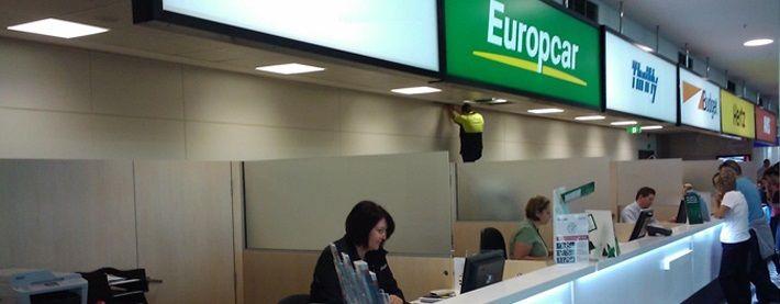 Inside Brisbane Airport car rental kiosks